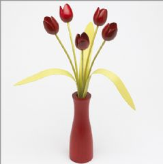 5 red Tulips with 3 green leaves with matching red 'cool' vase